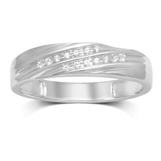 Unending Love 10k White Gold .06k IJ I3 Diamond Accent 2-row Men's Ring