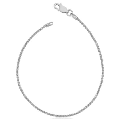 Italian Sterling Silver 1.5 millimeter Round Wheat Chain Bracelet (7 or 8 inches)