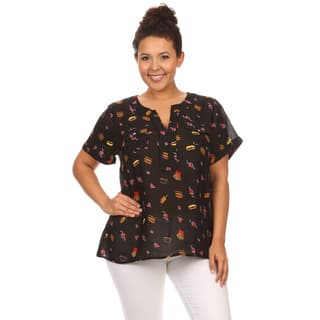 Hadari Women's Plus Size Short Sleeve Fast Food Print Top|https://ak1.ostkcdn.com/images/products/12113596/P18974443.jpg?impolicy=medium