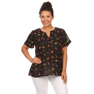 Hadari Women's Plus Size Short Sleeve Fast Food Print Top