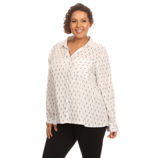 Hadari Women's Printed Long Sleeve Blouse
