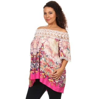 Hadari Women's Plus Size Paisley Printed Top