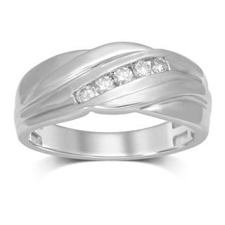 Unending Love IJ I1-I2 1/4-carat Total Weight Diamond 10k White Gold Men's Single Slant Row Ring
