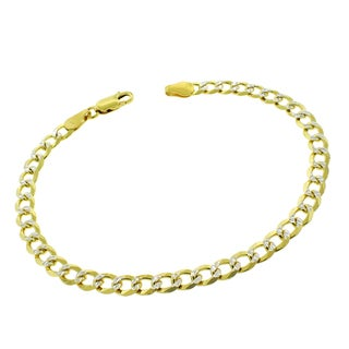.925 Sterling Silver 5mm Solid Cuban Curb Link Gold Plated Diamond Cut ITProLux Bracelet 9-inch Chain