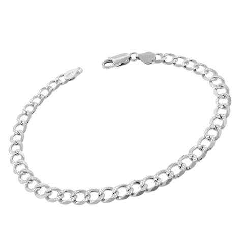 """Authentic Solid Sterling Silver 6mm Cuban Curb Link Diamond-Cut Pave .925 ITProLux Bracelet Chain 9"""", Made In Italy"""