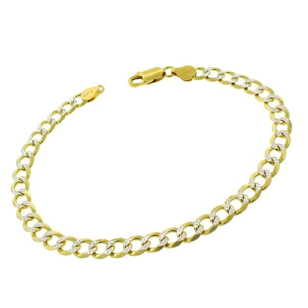 "10/"" CHAIN LINK QUALITY ANKLET DIAMOND CUT BRACELET 14K ITALY GOLD FINISH"