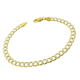 """Sterling Silver Italian 6mm Cuban Curb Link Diamond Cut Two-Tone Solid 925 Yellow Gold Bracelet Chain 9"""""""
