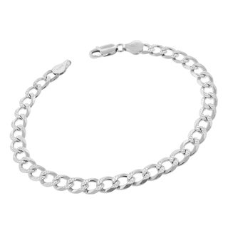 .925 Sterling Silver 7mm Solid Cuban Curb Link Diamond-cut ITProlux 9-inch Bracelet Chain