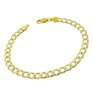 .925 Sterling Silver 7mm Solid Cuban Link Diamond-cut ITProLux Gold Plated Bracelet Chain