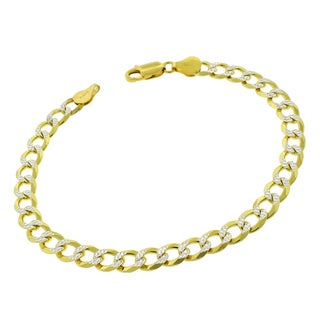 """Sterling Silver Italian 7mm Cuban Curb Link Diamond Cut Two-Tone Solid 925 Yellow Gold Bracelet Chain 9"""""""
