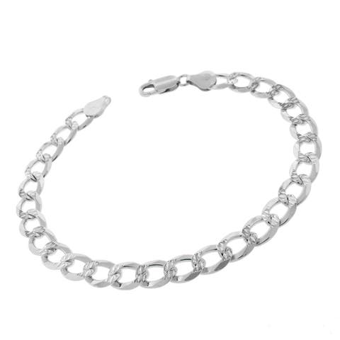 """Authentic Solid Sterling Silver 7.5mm Cuban Curb Link Diamond-Cut Pave .925 ITProLux Bracelet Chain 9"""", Made In Italy"""