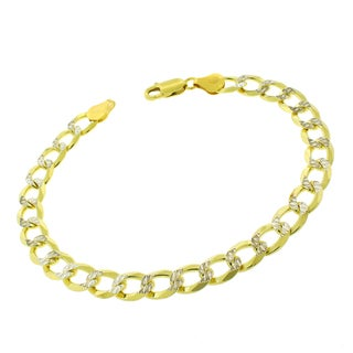 .925 Sterling Silver 7.5mm Solid Cuban Curb Link Gold-Plated Diamond-cut ITProlux 9-inch Bracelet Chain