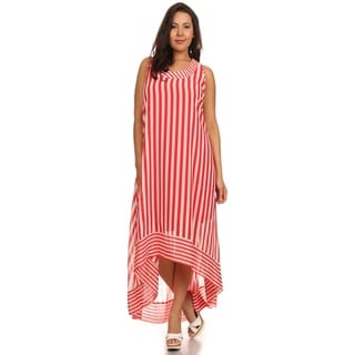 Hadari Women's Plus Size Red Circus Stripe Dress