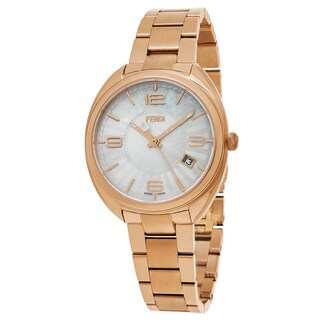 Fendi Women's F218534500 'Momento' Mother of Pearl Dial Rose Goldtone Stainless Steel Swiss Quartz Watch