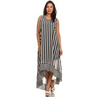 Hadari Women's Plus Size Black Circus Stripe Dress