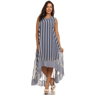 Hadari Women's Plus Size Navy Circus Stripe Dress