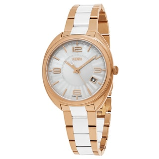 Fendi Women's F218534004 'Momento' Silver Dial Rose Goldtone Steel/Ceramic Swiss Quartz Watch