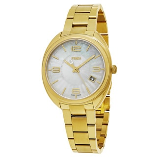 Fendi Women's F218434500 'Momento' Mother of Pearl Dial Yellow Goldtone Stainless Steel Swiss Quartz Watch