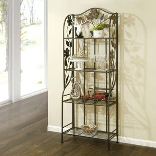 Adalynn Kitchen Black Metal Free-standing Baker's Rack with Four Full-size Shelves