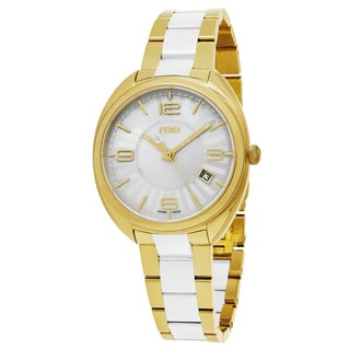 Fendi Women's F218434004 'Momento' Silver Dial Yellow Goldtone Stainless Steel Swiss Quartz Watch