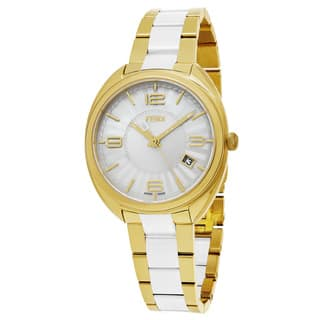 Fendi Women's F218434004 'Momento' Silver Dial Yellow Goldtone Stainless Steel Swiss Quartz Watch|https://ak1.ostkcdn.com/images/products/12113737/P18974507.jpg?impolicy=medium
