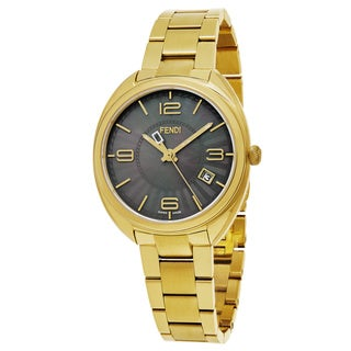Fendi Women's F218431500 'Momento' Black Mother of Pearl Dial Yellow Goldtone Stainless Steel Swiss Quartz Watch