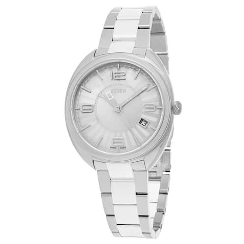 Fendi Women's F218034004 'Momento' Silver Dial Stainless Steel Ceramic Swiss Quartz Watch