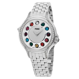Fendi Women's F107024000C0T05 'Crazy Carats' Silver Dial Stainless Steel Multi Colored Topez Small Swiss Quartz Watch