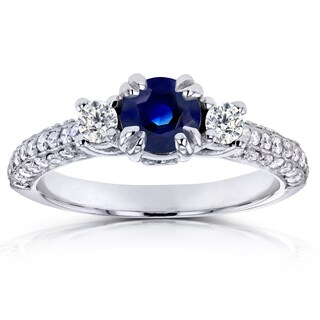Annello by Kobelli 14k White Gold Sapphire and 1/2ct TDW Diamond Three Stone Engagement Ring