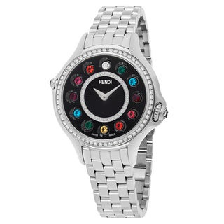 Fendi Women's F107021000B2T05 'Crazy Carats' Black Diamond Dial Stainless Steel Multi Colored Topez Swiss Quartz Watch