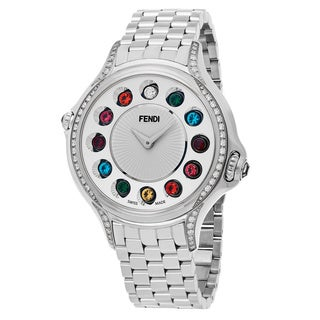 Fendi Women's F107034000C0T05 'Crazy Carats' Silver Dial Stainless Steel Diamond Multi Colored Topez Swiss Quartz Watch