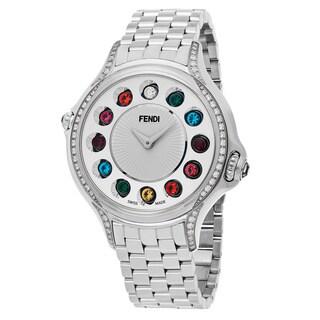 Fendi Women's F107034000C0T05 'Crazy Carats' Silver Dial Stainless Steel Diamond Multi Colored Topez Swiss Quartz Watch