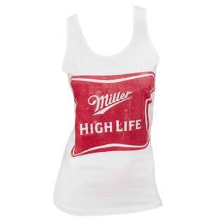 Women's Miller High Life White Cotton/Polyester Tank Top