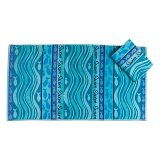 Swim Swam Cotton Beach Towels (Set of 2)