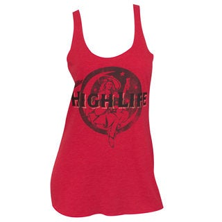 Women's Miller High Life Beer Faded Lady Red Racerback Tank Top