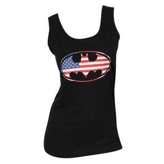 Women's Black Cotton Batman American Flag Logo Tank Top