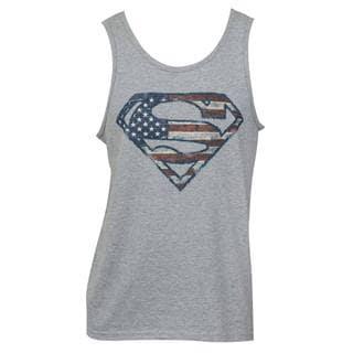 Women's Grey Cotton/Polyester Superman American Flag Logo Tank Top
