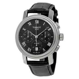 Tissot Men's T0974271605300 'Bridgeport' Chronograph Automatic Black Leather Watch