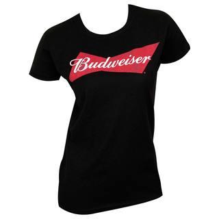Budweiser Women's Black Cotton T-shirt