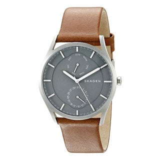 Skagen Holst SKW6264 Grey Mineral Dial Brown Leather Stainless Steel Men's Multifunction Watch