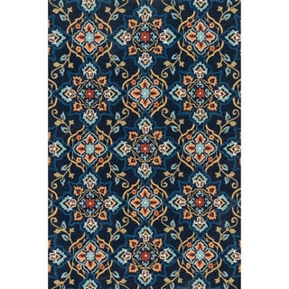 Hand-hooked Charlotte Navy/ Multi Rug (3'6 x 5'6)