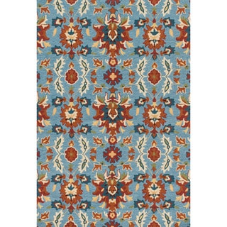 Hand-hooked Charlotte Light Blue/ Spice Rug (7'6 x 9'6)