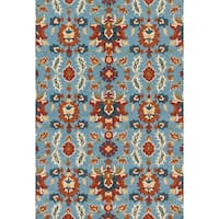 Hand-hooked Charlotte Light Blue/ Spice Rug - 5' x 7'6