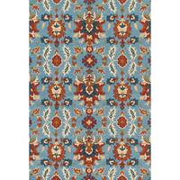 """Hand-hooked Charlotte Light Blue/ Spice Rug - 3'6"""" x 5'6"""""""