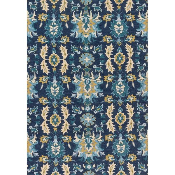 Hand-hooked Charlotte Blue/ Ocean Rug (3'6 x 5'6)