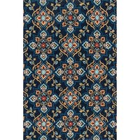 Hand-hooked Charlotte Navy/ Multi Rug (7'6 x 9'6)