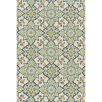 Hand-hooked Charlotte Ivory/ Ocean Rug (7'6 x 9'6) - 7'6 x 9'6
