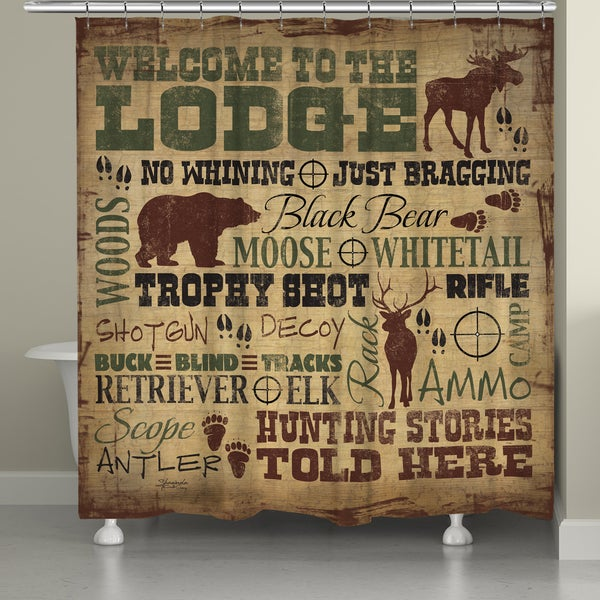 Laural Home Lodge Words Shower Curtain