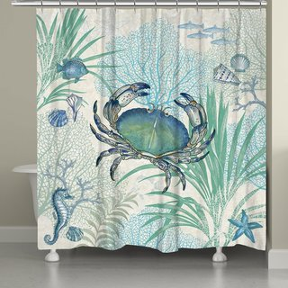 Laural Home Blue Creature of the Sea Shower Curtain