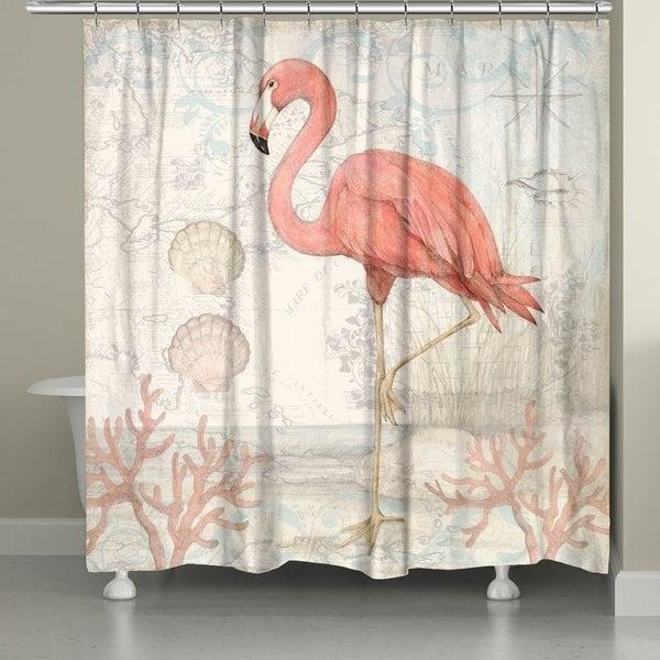 Laural Home Flamingo Shower Curtain